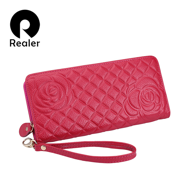 REALER women genuine leather wallets Cell phone Card Holder Long Lady Wallet Purse Clutch High Quality Women wallets
