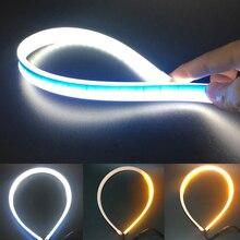 2pc/lot 60cm LED Strip Light 12V Flexible DRL Headlight Slim Turn Signal Day Amber Flowing Daytime Running Lights