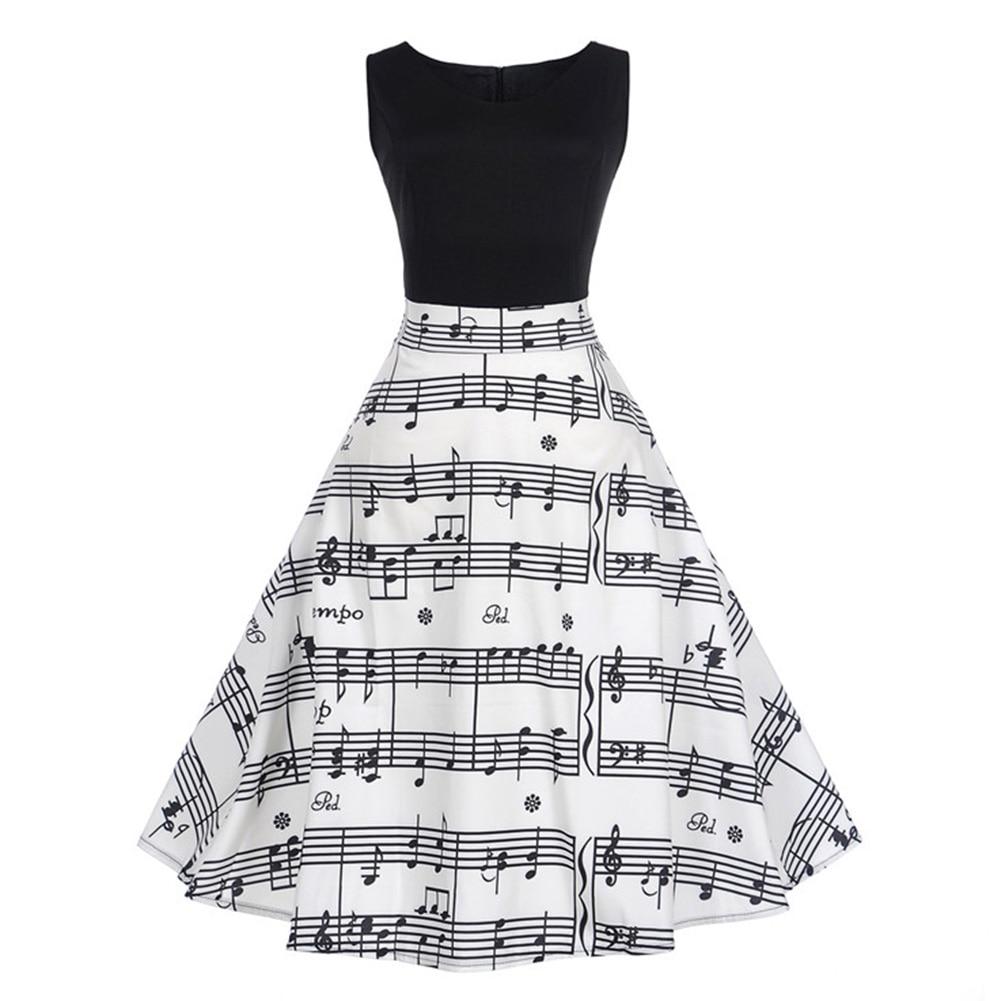 2018 V Collar Music Note Print Sleeveless font b Dress b font Summer Big Swing Vintage