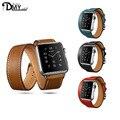 Reloj de pulsera banda de cuero genuino clásico hebilla de correa de reloj pulsera de la correa para apple watch iwatch 42mm de los hombres deportivos de lujo correas