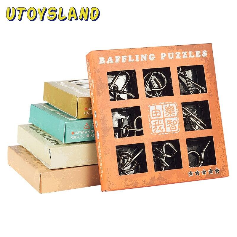 UTOYSLAND 9 pçs/set Fio Do Enigma Metal QI Mente Cérebro Teaser de Puzzle Brinquedos Jogo de Crianças para Adultos Crianças Bebê Brinquedos Montessori