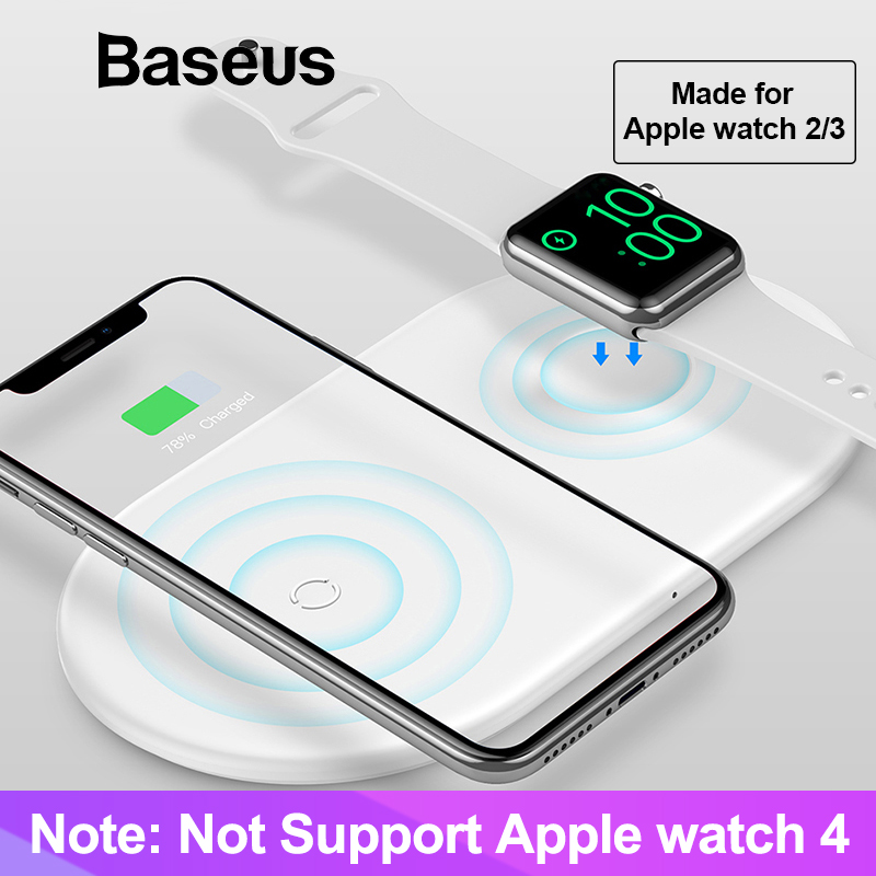 Baseus 2 en 1 cargador inalámbrico para Apple Watch iPhone 2/3 X Xs X Max XR nacido para los Fans de Apple (No soporte Apple Watch serie 4)