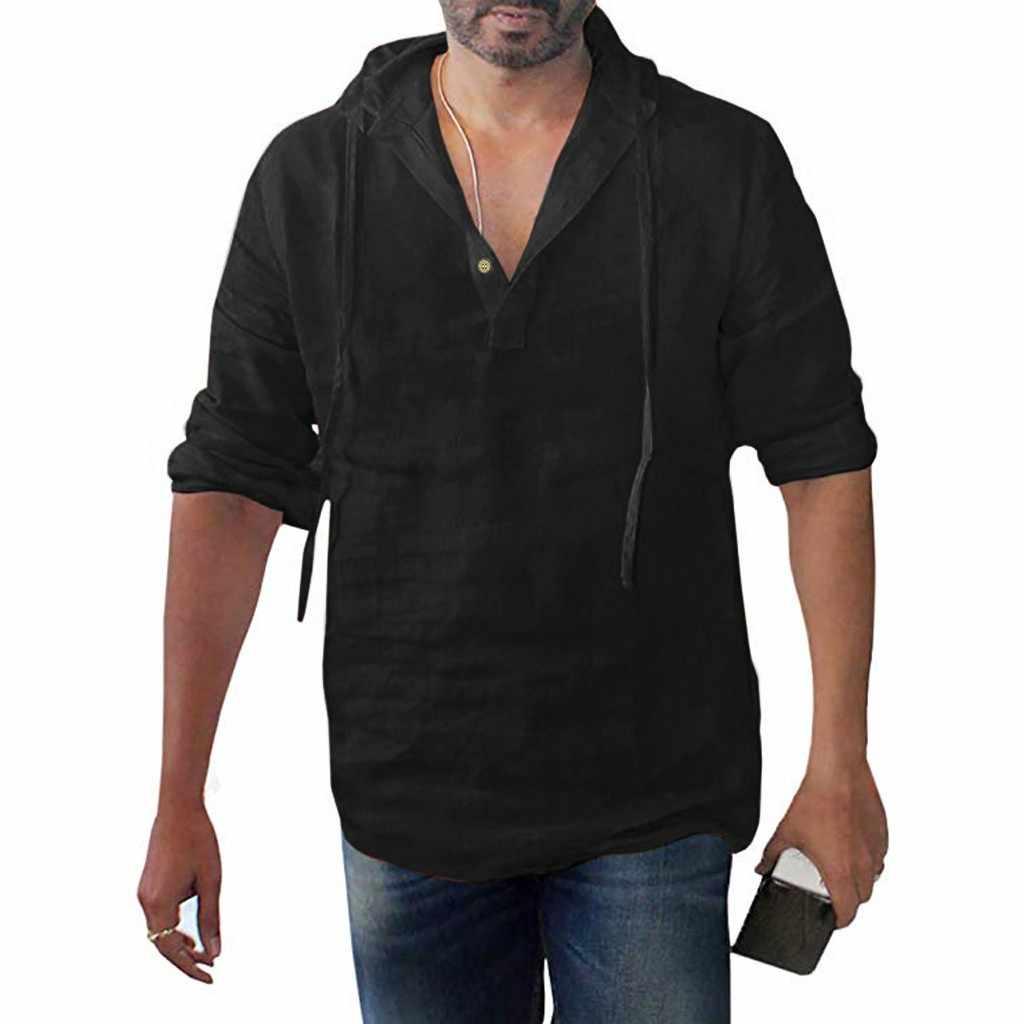 2019 современные мужские мешковатые хлопковые льняные однотонные рубашки с капюшоном и длинными рукавами больших размеров Ropa de moda para hombre