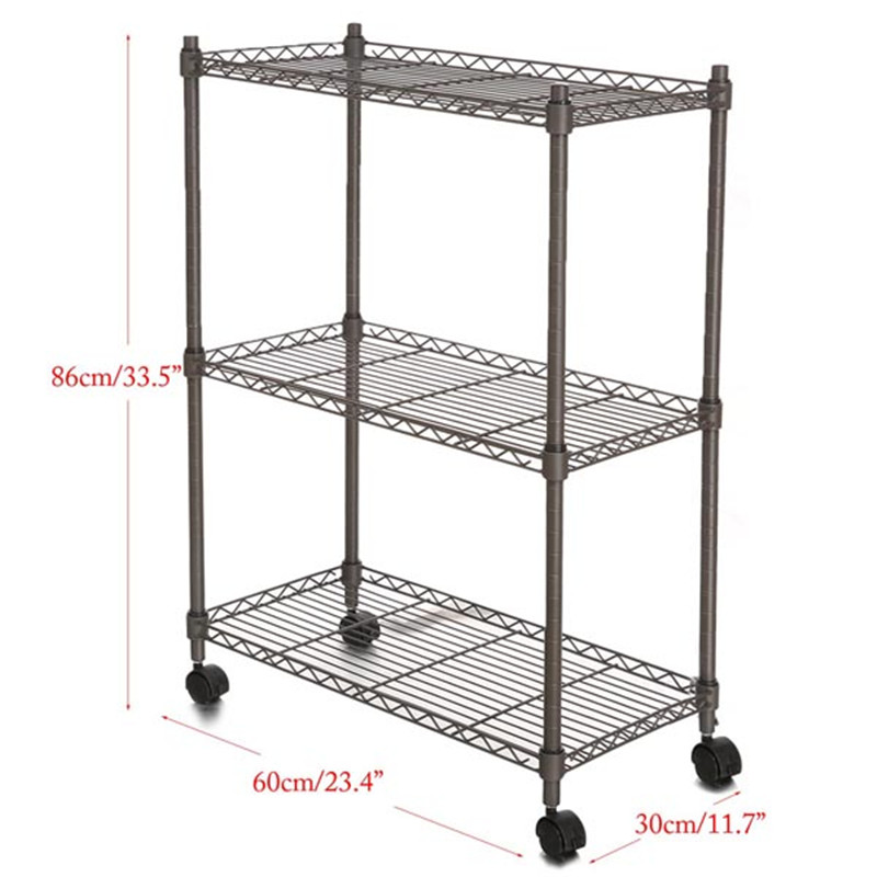 Homdox 23.4 x 11.7 x 33.5 inch 3 Tier Metal Wire Shelf Shelving Unit ...