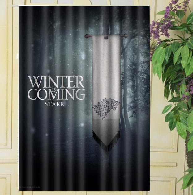 Custom 80x140cm Game Of Thrones Winter Is Coming Cotton Polyester Kitchen Window Curtains Room Divider