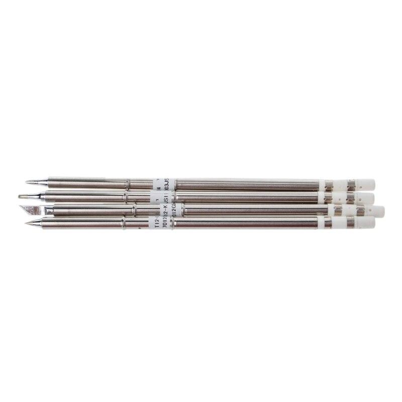4 Pcs T12 Series Solder Iron Tips For Hakko Soldering Rework Station FX-951 FX-952 10pcs solder iron tips for hakko soldering rework station
