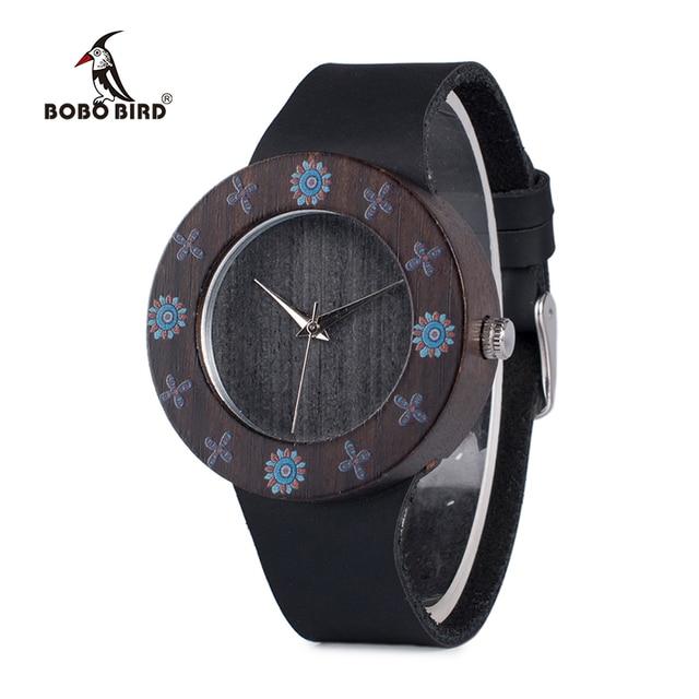 Бобо птица wd25 женские Ebony Винтаж деревянные часы Дамы УФ печать цветок дерева Часы настроить часы подарочные коробки