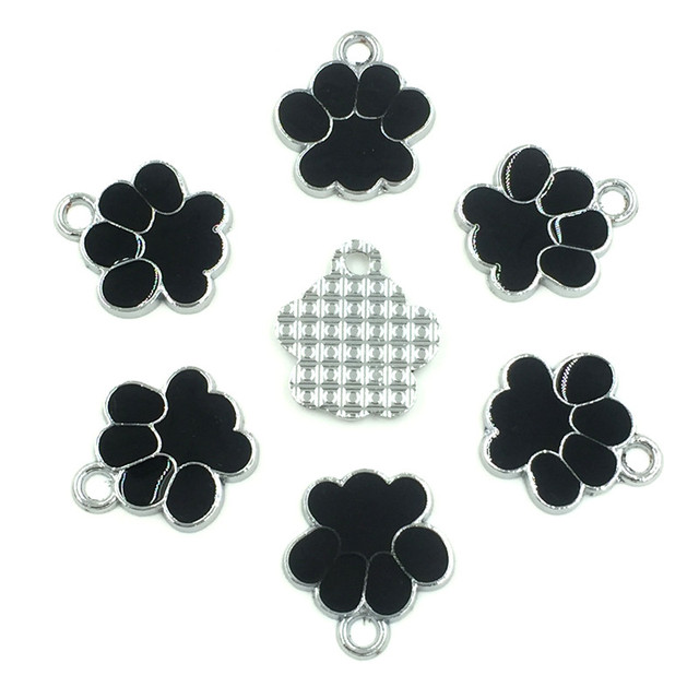 20Pcs Silver Tone Bear's Pat Enamel Black Charms Pendants Jewelry Making 19x17mm 1