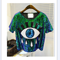 2016 Free Shipping Sequin Big eyes printed Ds costume performance wear hiphop hip-hop paillette t-shirt short-sleeve tops