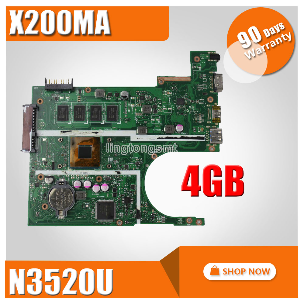 For ASUS K200MA F200MA X200MA motherboard X200MA REV2.1 Mainboard 4G Memory On Board N3520CPU 100% tested for asus k200ma x200ma motherboard x200ma rev2 1 mainboard 4g memory on board n2815cpu 100