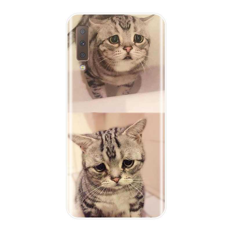 Чехол-накладка для samsung Galaxy A6 A8 плюс 2018 A5 A7 Мягкий силиконовый чехол с милым котиком чехол для телефона для samsung Galaxy A3 A5 A7 2016 2017 чехол