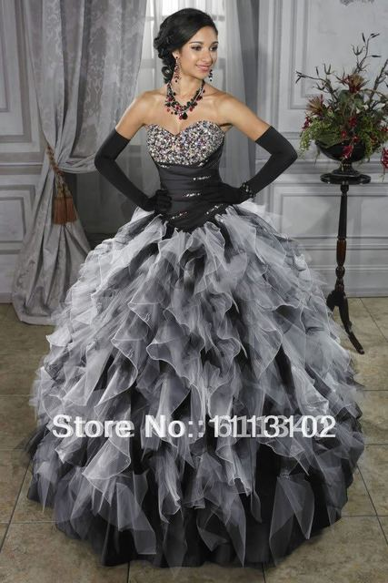 Strapless Sweetheart Ball Gown Black And White Purple Wedding Dress