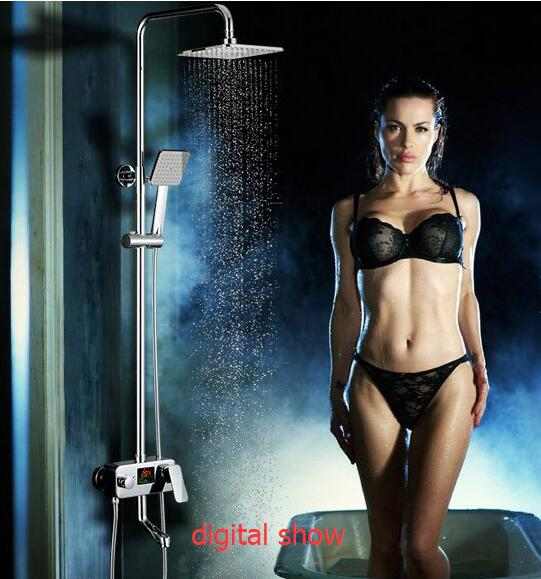 Foyi brand LED Display Digital Shower Control System Thermostatic For Bathroom Temperature display shower