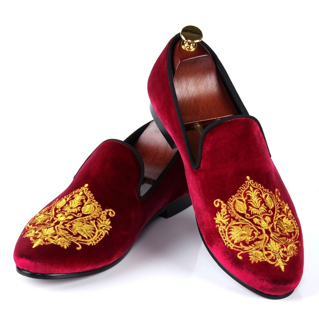 fce09e8a763 Harpelunde British Style Dress Shoes Mens Burgundy Velvet Slippers  Comfortable Loafers Size 7-13