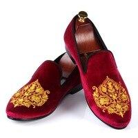 Harpelunde Stile Britannico Pattini di Vestito Mens Borgogna Velvet Pantofole Comode Mocassini Taglia 7-13