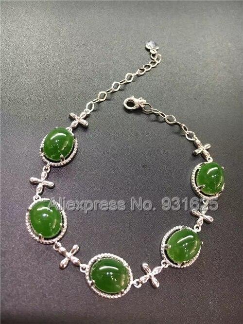 Замечательный Одежда высшего качества AAA серебра 925 натуральный зеленый Хотан Yu инкрустация звено цепи застежка Браслет Модные украшения д...