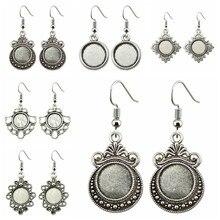 5 пар, 12 мм, круглая форма, стеклянный кабошон, античный серебряный цвет, цинковый сплав, висячие серьги, крючки, кабошон, Установка основания