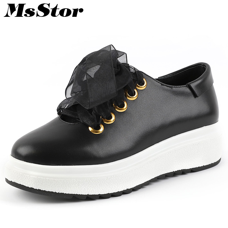 MsStor Round Toe Ribbon Women Flats Casual Fashion Ladies Flat Shoes 2018 Spring Cross tied Cow Leather Women Brand Flat Shoes new 2017 spring summer women shoes pointed toe high quality brand fashion womens flats ladies plus size 41 sweet flock t179