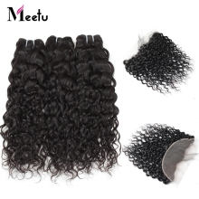 Meetu Water Wave Human Hair 3 Bundles With Closure Indian Hair Weave Non Remy Lace Frontal Closure With Bundles Free Part