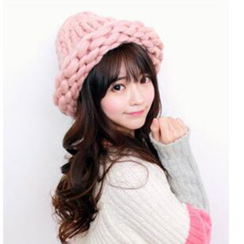 2015 winter hat for women New Fashion Korean Version Knitting Wool Skullies Caps Woman shag line warm hats multicolor Beanies wuhaobo the new arrival of the cashmere knitting wool ladies hat winter warm fashion cap silver flower diamond women caps