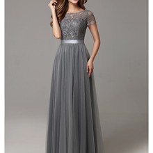 2019 Grey Long Modest Bridesmaid Dresses With Cap Sleeves La