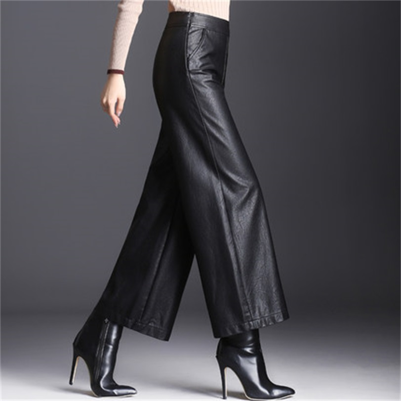 Leather Pants Women's New High Waist Nine Points Wide Leg Pants Autumn And Winter Loose PU Leather Trousers Was Thin Large Size