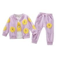Girls Clothing 1-3y Autumn 2017 New Fashion Cotton O-Neck full Sleeve Sunflower 3pcs suit baby Clothing Sets A272