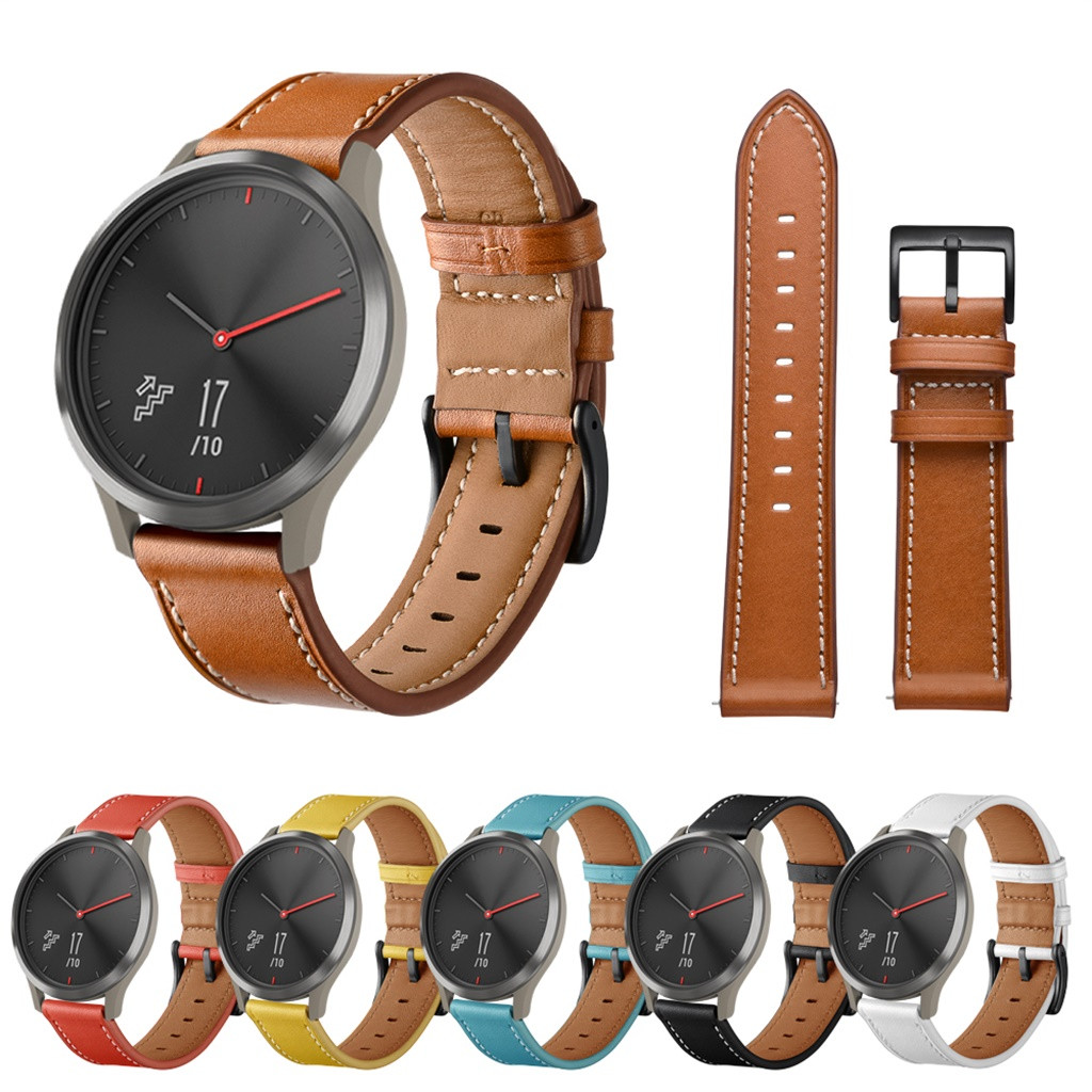 Watchband Replacement Smartwatch Band for Garmin vivomove HR Watchband Replacement Leather Watch Band Strap