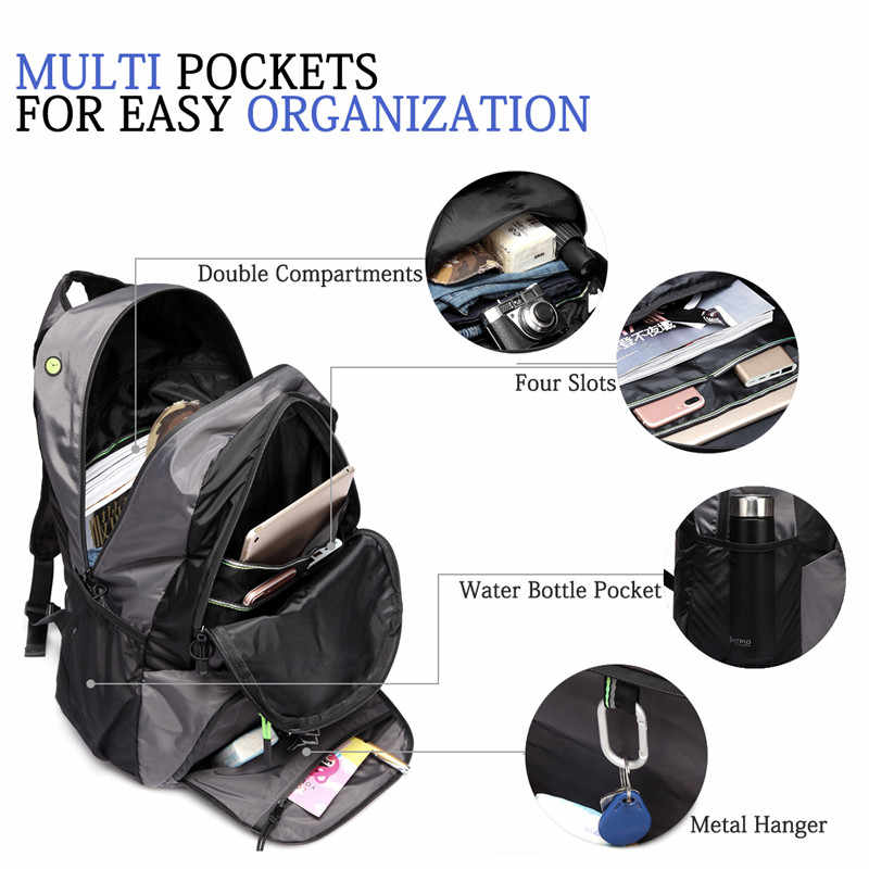 Vaschy caminhadas mochila homem leve resistente à água dobrável dobrável packable mochila de viagem com alça de peito para homem