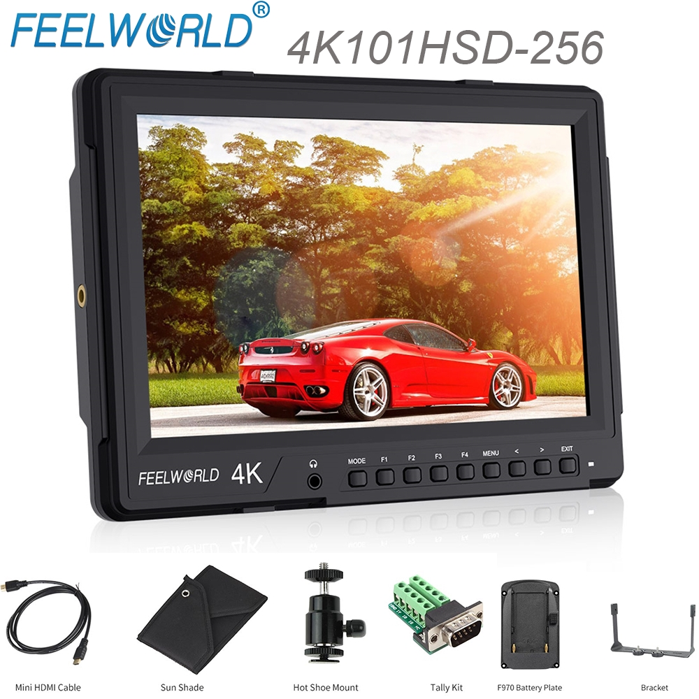 Feelworld 4K101HSD-256 10.1 IPS Camera Field Monitor Ultra HD 2560X1600 3G-SDI 4K HDMI Broadcast Monitor for DSLR Rig Dual View
