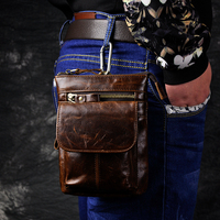 For Cagabi One Retro Oil Wax Genuine Leather Universal Outdoor Waist Phone Bag Pouch Case For