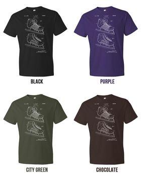 Gran oferta, camiseta a la moda para Hockey, patín, jugador de patinaje sobre hielo, entrenador, regalo, patente Vintage, Camiseta con cuello redondo