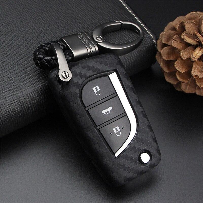 цена на Peacekey Car Emblem Remote Key Case Cover Bag For Toyota Avensis Corolla Prius Camry Vitz RAV4 2017 Key Case Bag Gift