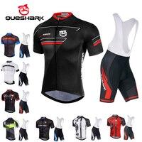 Queshark Breathable Summer Cycling Jersey Bib Shorts Set Bicycle Sportwear Clothing Cycling Cloth Shirt Quick Dry ropa ciclismo