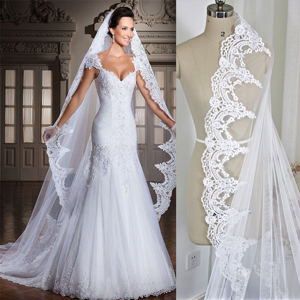 2018 new Real White Ivory 4M Cathedral Length Lace Edge Bridal Head Veil With Comb Long
