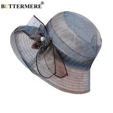 BUTTERMERE Flower Hat Women Summer Female Sun Bucket Wide Brim Vintage Elegant Ladies Uv Hats For 2019 New Arrival