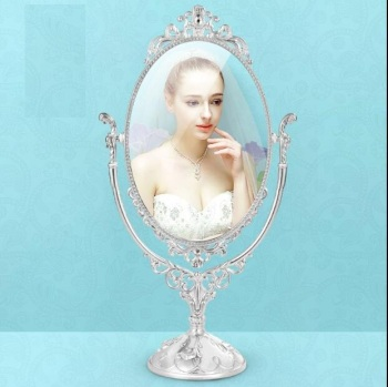 360 degree rotating home decoration makeup mirror frame decorative table mirrors wedding decorative home mirror oval mirrorJ043