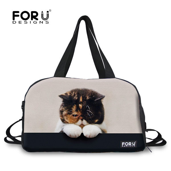 FORUDESIGNS Fashion Large Capacity Women Travel Bags 3D Animal Cat Luggage  Bag One Shoulder Female Cotton Travel Duffel Bag-in Travel Bags from Luggage  ... bfe20e5a5d4ea