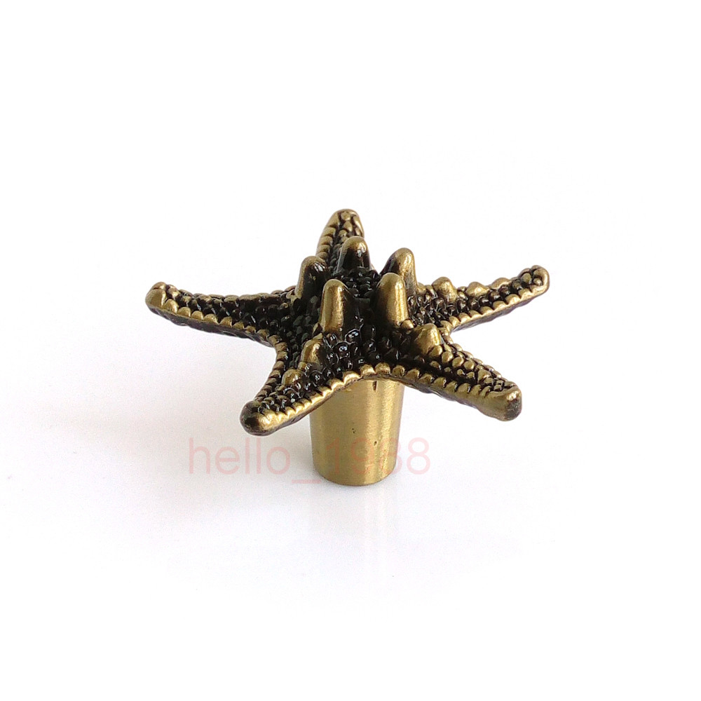 Antique Cute Bronze Starfish Pentagram Cabinet Knobs Furniture Drawer Pulls Closet Handles Cupboard Knob Cabinet Handle Bar