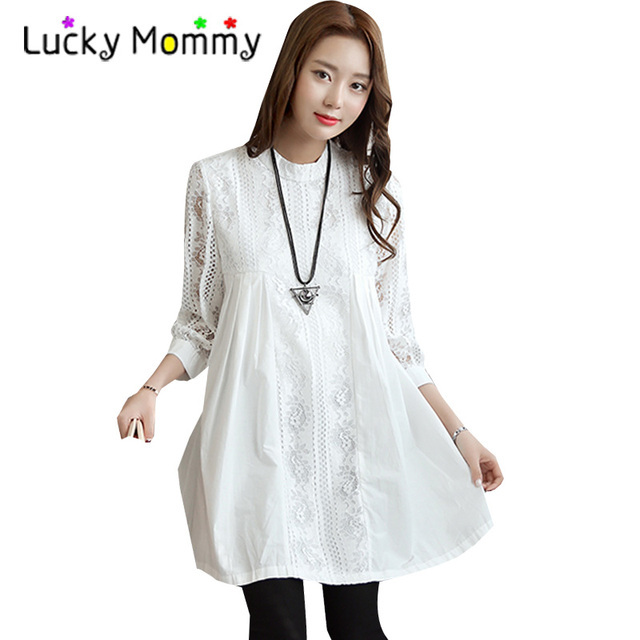 27987c9eb45 High Quality Office Lady Shirt Dress for Pregnant Women 2017 Autumn Formal  Maternity Clothes White Lace Pregnancy Clothing