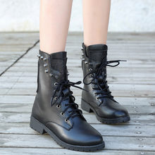 Women's Rivets Shoe Round Toe Lace-UP Strap Square Heel Single Shoe Martin boots women mid-calf #g10(China)