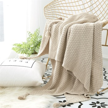 Drop shipping 130*170cm 100% cotton high quality soft knit blanket bed blanket beige grey throw sofa blanket 2018 new arrival