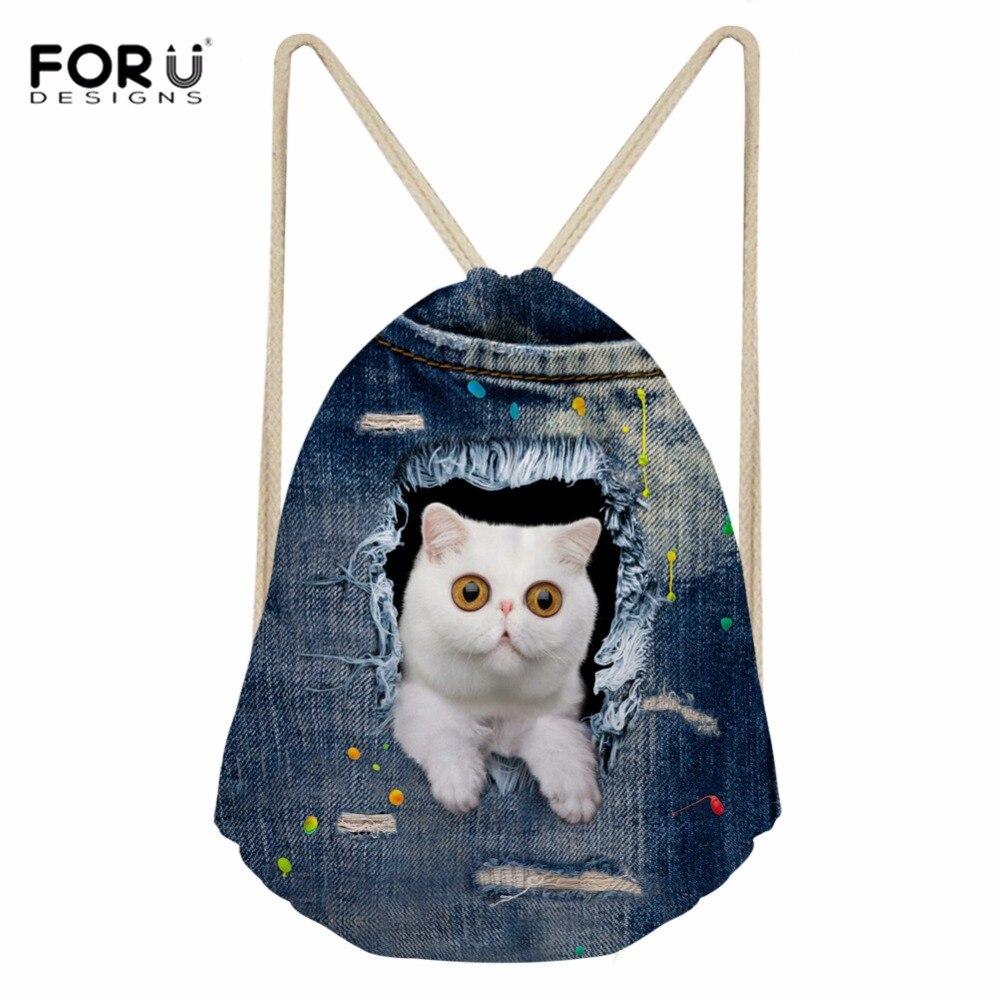 Foru Дизайн S drawstring сумка спортивная сумка для Для женщин Фитнес Kawaii Cat животного Дизайн Дамская Сумки для Йога Бег тренинг softback ...
