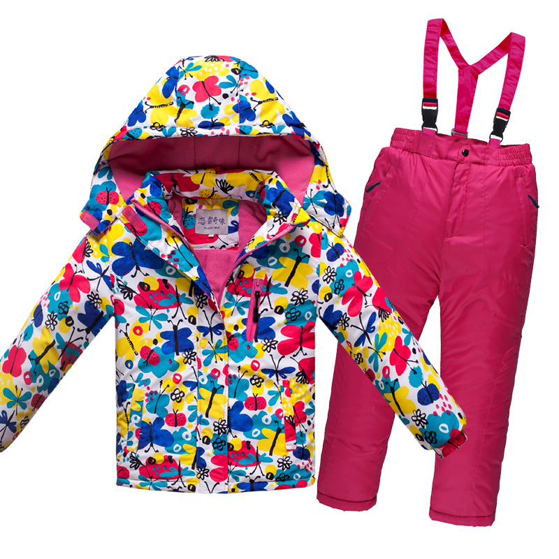 Mioigee 2019 New Boys/girls Ski Suit Waterproof Windproof Snow Pants+jacket A Set of Winter Ski Sports Suit for Girls Clothes