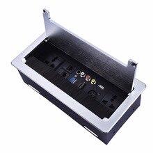 Clamshell tomada de mesa/painel de desenho fio de alumínio/Universal power/VGA, 3.5 de áudio, HDMI, USB, vídeo, caixa de tomada de Informação