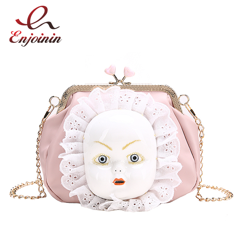 Vintage Cartoon Mask Doll Pu Leather Fashion Shell Shape Female Chain Purse Shoulder Bag Handbag Women's Crossbody Messenger Bag luxury flower fashion design pu leather women s chain purse shoulder bag handbag female crossbody mini messenger bag 3 colors