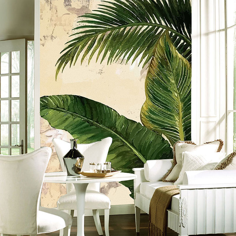 Custom Photo Wall Paper Tropical Palm Banana Leaves Modern Living Room Aisle Entrance Wall Mural Wallpaper Papel De Parede 3D