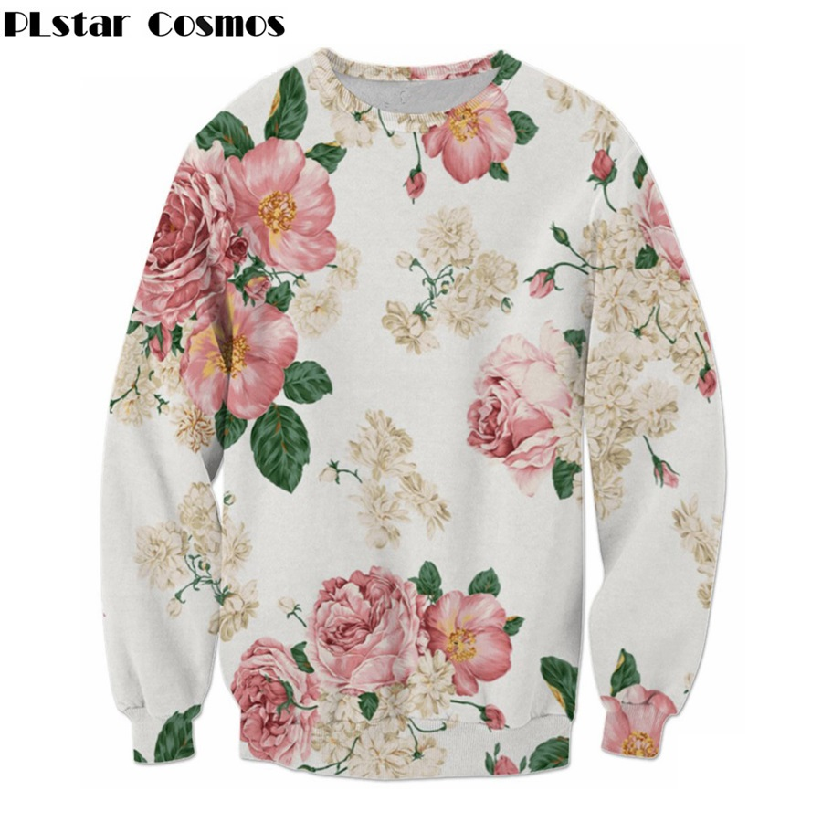 PLstar Cosmos free shipping 2018 Autumn new fashion Brand clothing Rose flower 3d print hoodies men women casual pullovers