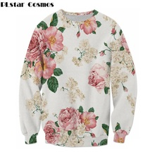 PLstar Cosmos free shipping 2017 Autumn new fashion Brand clothing Rose flower 3d print hoodies men women casual pullovers