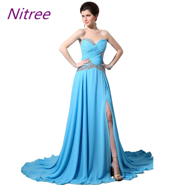 Sky Blue A Line Chiffon Long Prom Dresses Sweetheart Neckline Pleats ...